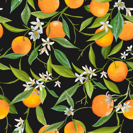 Seamless Pattern. Orange Fruits Background. Floral Pattern. Flowers, Leaves, Orange Background. Vector Background.