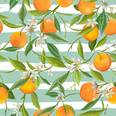 シームレス パターン。オレンジ色の果物の背景。花柄。花、葉、オレンジ色の背景。ベクトルの背景。