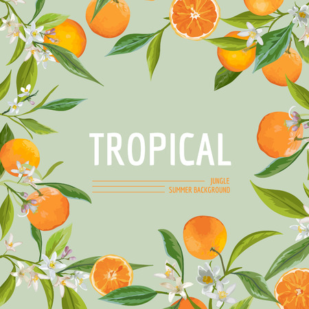 Orange, Flowers and Leaves. Exotic Graphic Tropical Banner. Vector Frame Background. Vettoriali