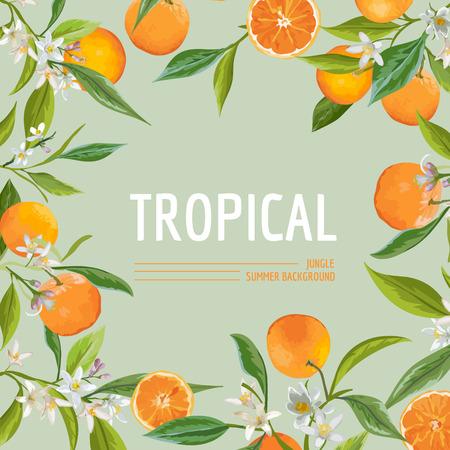 Oranje, bloemen en bladeren. Exotische Grafische Tropical Banner. Vector Frame Achtergrond. Stock Illustratie