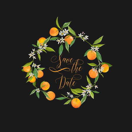 Save the Date. Orange and Flowers Card. Fruit Background. Wedding Invitation. Vector Card.  イラスト・ベクター素材