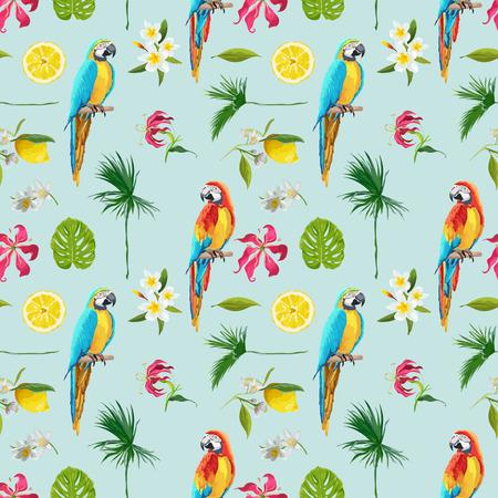 Antecedentes tropical. Toucan Bird. Antecedentes de cactus. Flores tropicales. Patrón sin fisuras. Vector