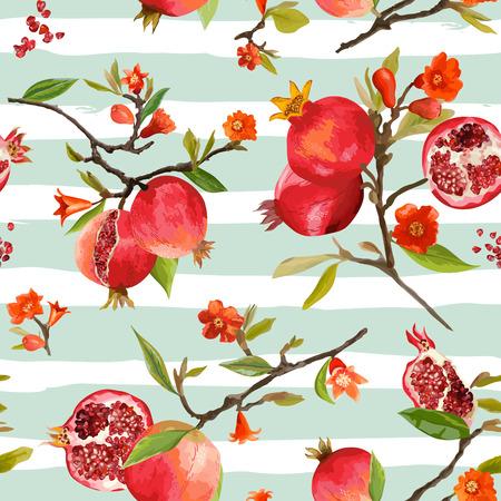 Nahtlose Muster. Granatapfel tropischen Hintergrund. Blumenmuster. Blumen, Blätter, Früchte. Vektor Vektorgrafik