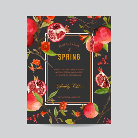 Melograno tropicali e fiori colorati Frame - per l'invito, matrimonio, Baby Card doccia - nel vettore