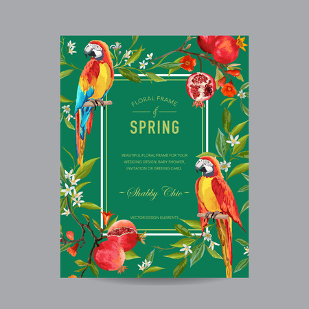 pomegranat: Tropical Parrot Birds, Pomegranates and Flowers Colorful Frame - for Invitation, Wedding, Baby Shower Card - in vector Illustration