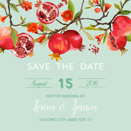 tropical flower: Wedding Invitation Card - with Pomegranates and Flowers Background - Save the Date - in vector
