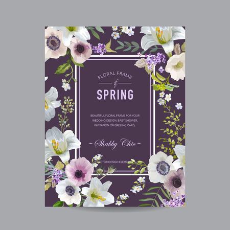 Vintage Floral Colorful Frame - Lis et anémones - Invitation, Mariage, Baby Shower Card - dans le vecteur Vecteurs