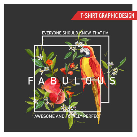 graphic background: Floral Graphic Design. Pomegranate and Parrot Bird Background. T-shirt Fashion Print. Vector Card.