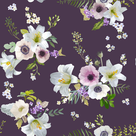 anemone: Vintage Lily and Anemone Flowers Background - Summer Seamless Pattern in Vector Illustration