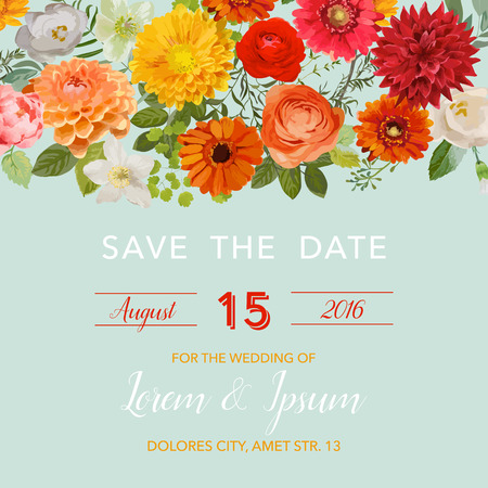 autumn flowers: Save the Date Wedding Card.  Summer and Autumn Flowers. Vector Floral Frame