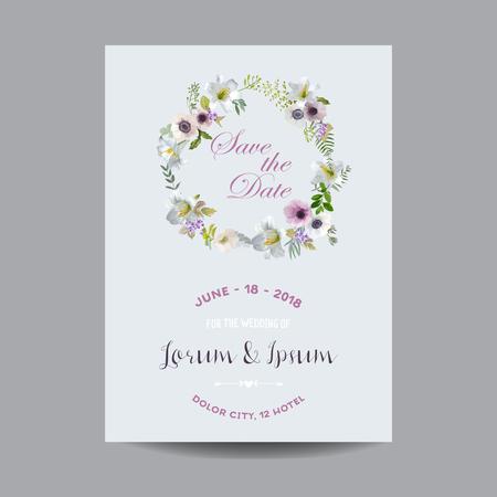 Sparen de Kaart van het Huwelijk. Lily en Bloemen van de Anemoon. Vector BloemenKroon