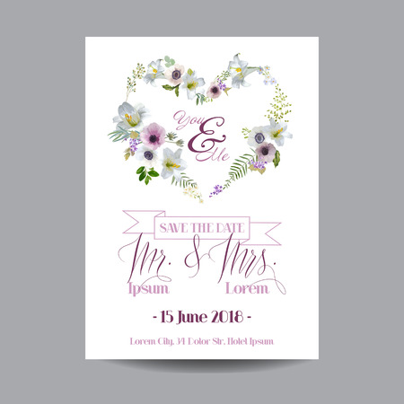 invitation wedding: Save the Date Wedding Card.  Lily and Anemone Flowers. Vector Floral Wreath