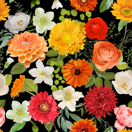 autumn flowers: Floral Seamless Pattern. Summer and Autumn Flowers Background. Vector