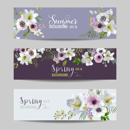 lily flowers: Lily and Anemone Flowers Floral Banners and Tags Set - in vector