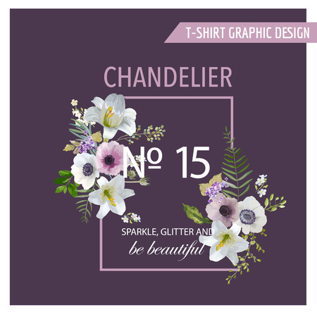 anemones: Vintage Colorful Flowers Graphic Design - Lilies and Anemones - for T-shirt, Fashion, Prints - in vector