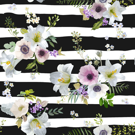 Vintage Lily and Anemone Flowers Background - Summer Seamless Pattern in Vector Illustration