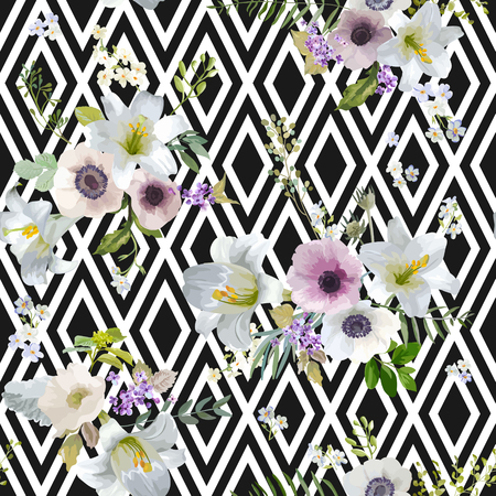 anemone: Vintage Lily and Anemone Flowers Geometric Background - Summer Seamless Pattern in Vector