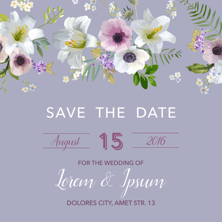 anemone: Save the Date Wedding Card.  Lily and Anemone Flowers. Vector Floral Frame Illustration