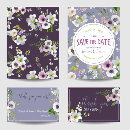 rsvp: Save the Date Card. Lily and Anemone Flowers. Wedding, Invitation, RSVP Cards. Vector