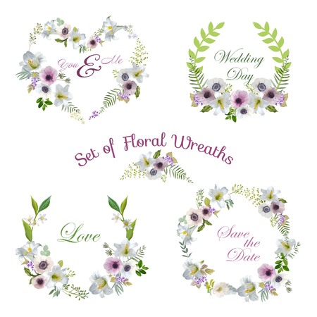 Lily and Anemone Flowers Floral Wreaths - Banners en tags in Vector