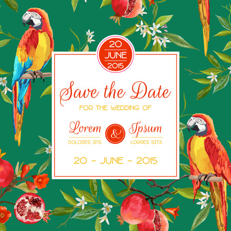 the spouse: Save the Date, Invitation, Congratulation Card - for Wedding, Baby Shower - Tropical Flowers and Parrot Birds - in vector Illustration