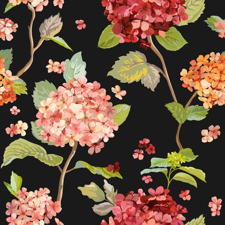 motif floral: Vintage Flowers - Floral Hortensia Background - Motif continu pour la conception, impression, Textile, Scrapbook - dans Vector