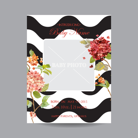 Baby Arrival Card with Photo Frame - Hortensia Flowers Theme - in vector