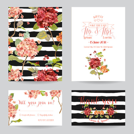 birthday invitation: Save the Date - Wedding Invitation or Congratulation Card Set - Flower Pansy Theme - in vector