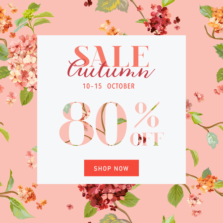 discount poster: Autumn Sale Floral Hortensia Banner - for Discount Poster, Fashion Sale, Market Offer - in vector Illustration