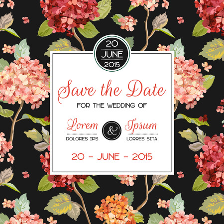 Invitation/Congratulation Card - for Wedding, Baby Shower - Hortensia Flowers Theme - in Vector Illustration