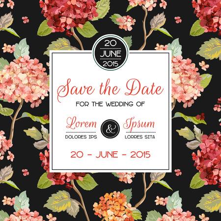 Invitation/Congratulation Card - for Wedding, Baby Shower - Hortensia Flowers Theme - in Vector Stock Illustratie