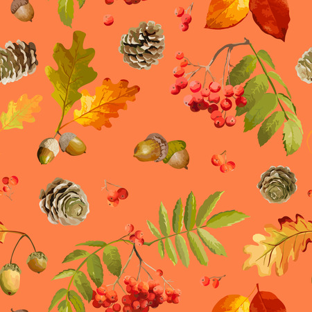 ash berry: Colorful Autumn Leaves Background - Seamless Pattern - in Watercolor Style - Vector