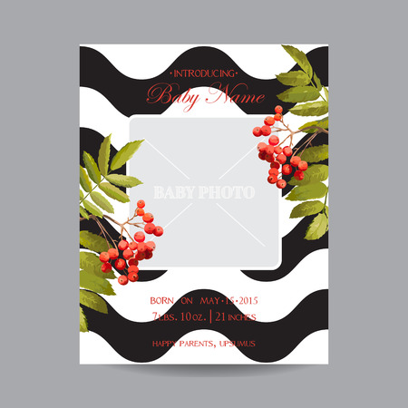 ash berry: Baby Arrival Card with Photo Frame - Autumn Floral Theme - in vector