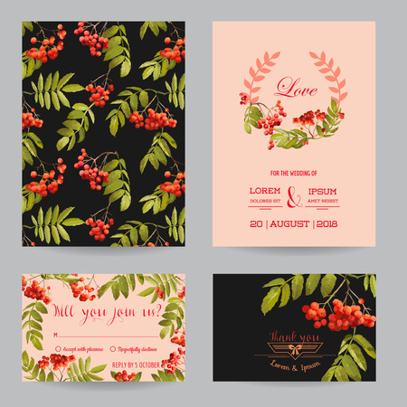 ash berry: Save the Date - Wedding Invitation or Congratulation Card Set - Ash Berry Autumn Floral Theme - in Vector