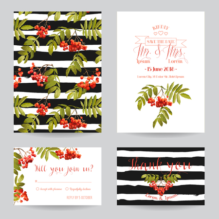 autumn garden: Save the Date - Wedding Invitation or Congratulation Card Set - Ash Berry Autumn Floral Theme - in Vector