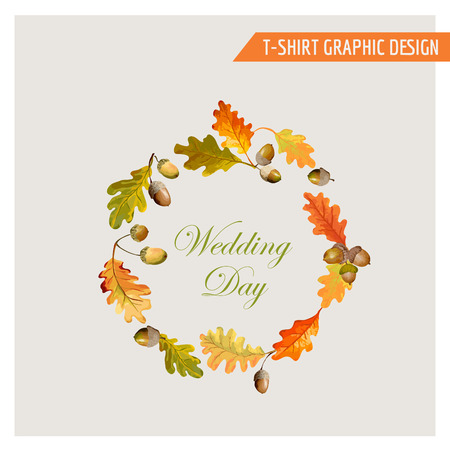 vintage fashion: Vintage Autumn Floral Graphic Design - for Card, T-shirt, Fashion, Prints - in Vector Illustration