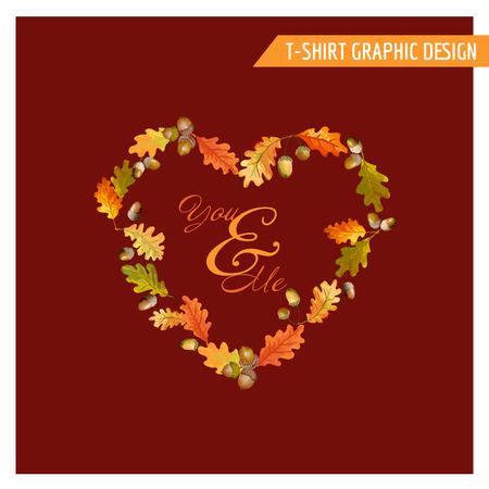 Diseño floral del otoño del vintage Gráfico - para la tarjeta, la camiseta, moda, impresiones - en el vector