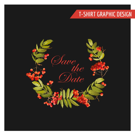 ash berry: Vintage Autumn Floral Graphic Design - for Card, T-shirt, Fashion, Prints - in Vector Illustration