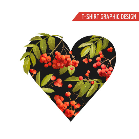 Floral Heart Graphic Design - for T-shirt, Fashion, Prints - in Vector Illustration