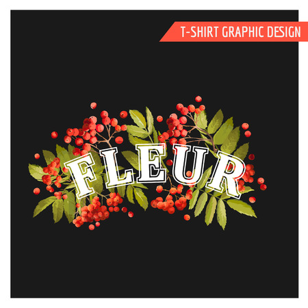 autumn fashion: Vintage Autumn Floral Graphic Design - for T-shirt, Fashion, Prints - in Vector