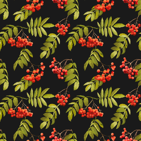 rowan: Autumn Rowan Berry Background - Vintage Seamless Pattern - for design, textile, print - in vector Illustration