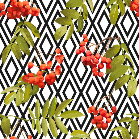 Autumn Rowan Berry Background - Geometric Vintage Seamless Pattern - for design, textile, print - in vector Illustration