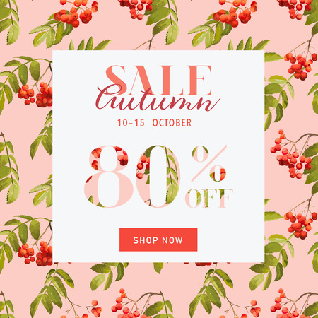 ash berry: Autumn Sale Hortensia Banner - for Discount Poster, Fashion Sale, Market Offer - in vector