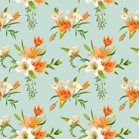 Spring Lily Bloemen Achtergronden - Seamless Floral Pattern - in vector