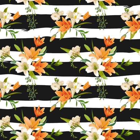 lily flowers: Spring Lily Flowers Backgrounds - Seamless Floral Pattern - in vector