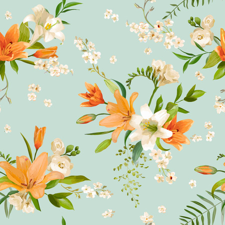 lily: Spring Lily Flowers Backgrounds - Seamless Floral Pattern - in vector
