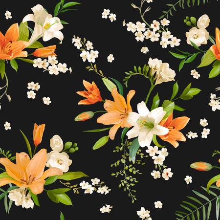 Printemps Lily Fleurs Fond - Motif floral Seamless - dans le vecteur