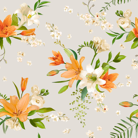 lily flower: Spring Lily Flowers Backgrounds - Seamless Floral Pattern - in vector