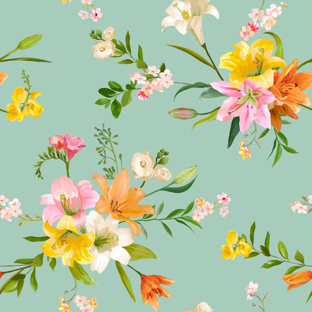 Vintage spring flowers backgrounds seamless floral lily pattern vector vintage spring flowers backgrounds seamless floral lily pattern in vector mightylinksfo