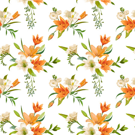 flower patterns: Spring Lily Flowers Backgrounds - Seamless Floral Pattern - in vector